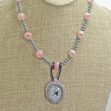 Load image into Gallery viewer, Macra Bead Embroidery Pendant Necklace close up front view