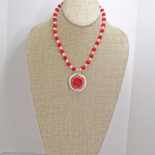 Hadiya Bead Embroidery Pendant Necklace relevant front view