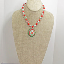 Load image into Gallery viewer, Ichtaca Bead Embroidery Pendant Necklace relevant front view