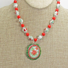 Load image into Gallery viewer, Ichtaca Bead Embroidery Pendant Necklace close up front view