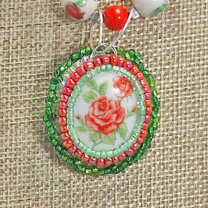 Ichtaca Bead Embroidery Pendant Necklace blow up view