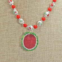 Load image into Gallery viewer, Ichtaca Bead Embroidery Pendant Necklace back view