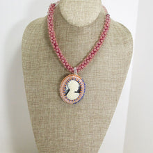 Load image into Gallery viewer, Zakiyae Bead Embroidery Cameo Pendant Necklace relevant front view