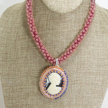 Load image into Gallery viewer, Zakiyae Bead Embroidery Cameo Pendant Necklace close up view