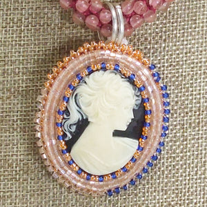 Zakiyae Bead Embroidery Cameo Pendant Necklace blow up view
