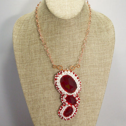 Madeira Bead Embroidery Red Pendant Necklace relevant front view