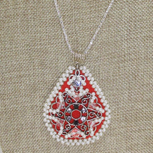 Load image into Gallery viewer, Lacrecia Bead Embroidery Pendant Necklace close up view