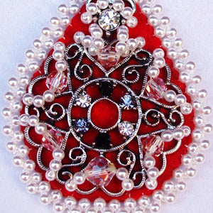 Lacrecia Bead Embroidery Pendant Necklace pin up view