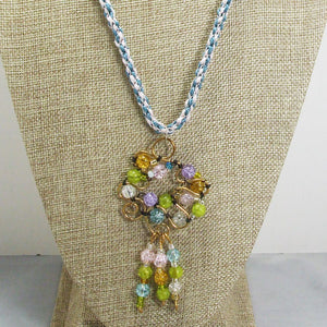 Nahama Beaded Wire Pendant Necklace front close view