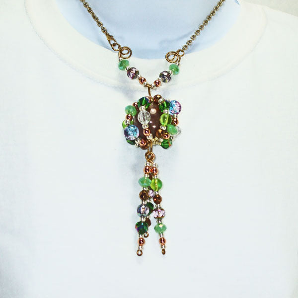 Edian Beaded Bead Costume Jewelry Pendant Necklace relevant front view