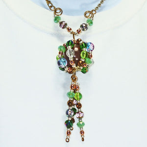 Edian Beaded Bead Costume Jewelry Pendant Necklace close up view