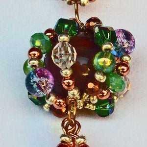 Edian Beaded Bead Costume Jewelry Pendant Necklace pin up view