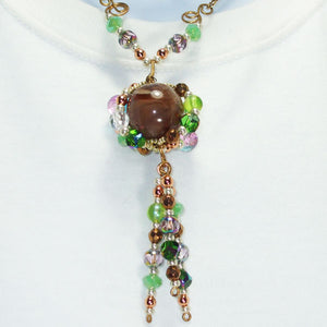 Edian Beaded Bead Costume Jewelry Pendant Necklace back view