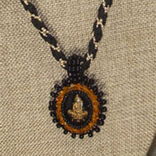 Load image into Gallery viewer, Pacomia Cameo Bead Embroidery Pendant Necklace blow up view