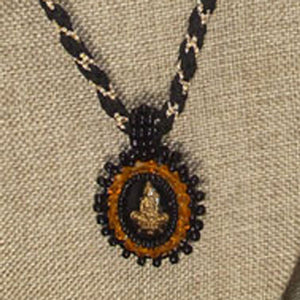 Pacomia Cameo Bead Embroidery Pendant Necklace blow up view