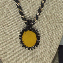 Load image into Gallery viewer, Pacomia Cameo Bead Embroidery Pendant Necklace back view