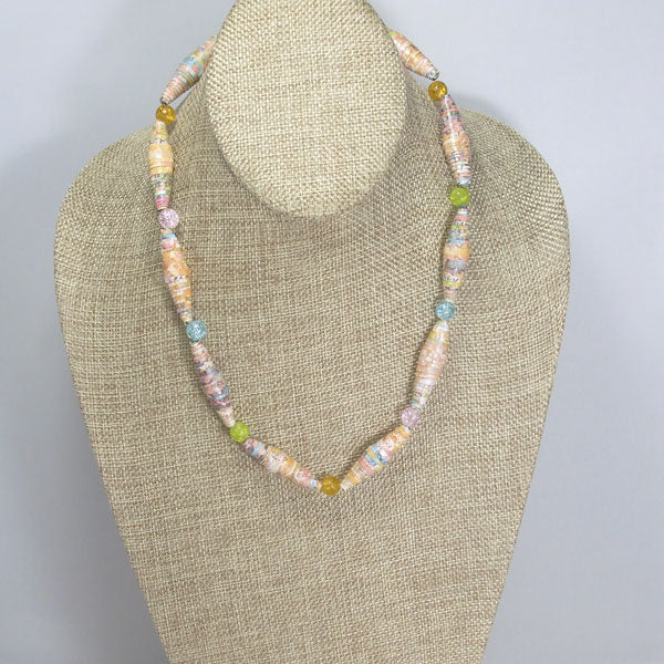 Odessa Paper Bead Necklace relevant front view