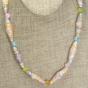 Odessa Paper Bead Necklace close up view