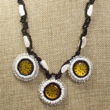 Load image into Gallery viewer, Dagoberta Bead Embroidery Clock Necklace front close view
