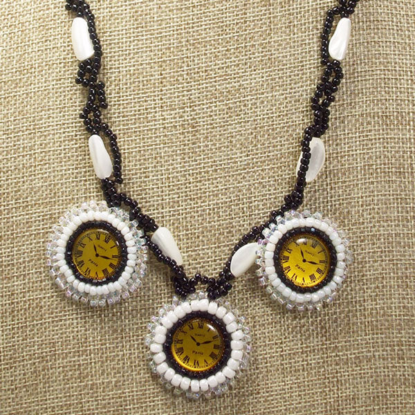 Dagoberta Bead Embroidery Clock Necklace front close view
