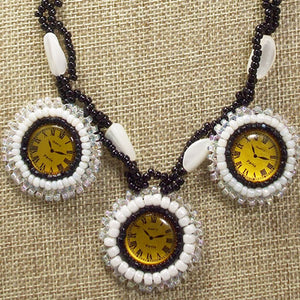 Dagoberta Bead Embroidery Clock Necklace front bug eye view