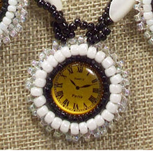 Load image into Gallery viewer, Dagoberta Bead Embroidery Clock Necklace front on top view