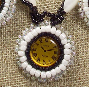 Dagoberta Bead Embroidery Clock Necklace front on top view
