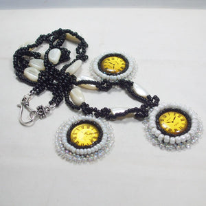 Dagoberta Bead Embroidery Clock Necklace flat view