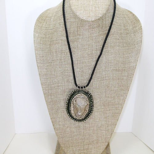 Nadette Beaded Bead Embroidery Pendant Necklace relevant front view