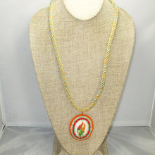 Load image into Gallery viewer, Zahavah Bead Embroidery Pendant Kumihimo Necklace front relevant view