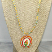 Load image into Gallery viewer, Zahavah Bead Embroidery Pendant Kumihimo Necklace front close view