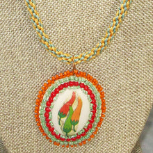 Load image into Gallery viewer, Zahavah Bead Embroidery Pendant Kumihimo Necklace front blow up view