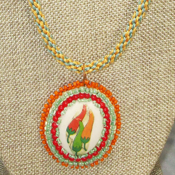 Zahavah Bead Embroidery Pendant Kumihimo Necklace front blow up view