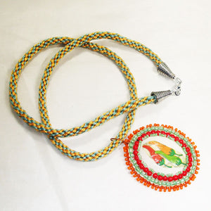 Zahavah Bead Embroidery Pendant Kumihimo Necklace front flat view
