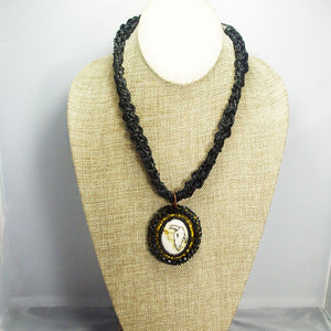 Abertha Bead Embroidery Pendant Kumihimo Necklace front relevant view