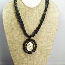 Load image into Gallery viewer, Abertha Bead Embroidery Pendant Kumihimo Necklace front close view