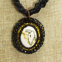 Load image into Gallery viewer, Abertha Bead Embroidery Pendant Kumihimo Necklace front bugs eye view