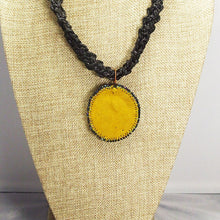 Load image into Gallery viewer, Abertha Bead Embroidery Pendant Kumihimo Necklace back view