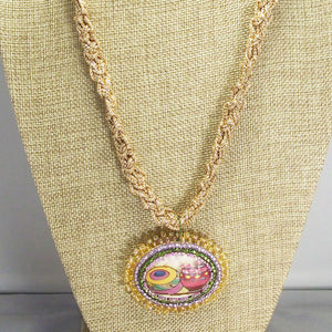 Bakari Bead Embroidery Pendant Kumihimo Necklace front bug eye view