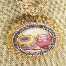 Load image into Gallery viewer, Bakari Bead Embroidery Pendant Kumihimo Necklace front close view
