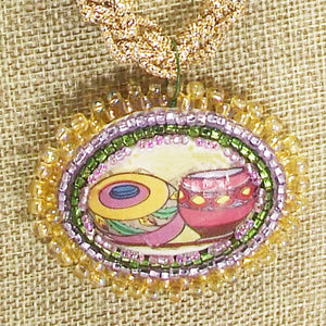 Bakari Bead Embroidery Pendant Kumihimo Necklace front close view