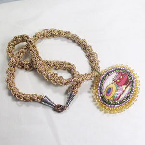 Bakari Bead Embroidery Pendant Kumihimo Necklace flat view
