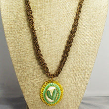 Load image into Gallery viewer, Calantha Bead Embroidery Pendant Kumihimo Necklace front close view