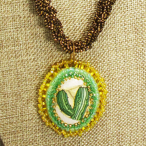 Calantha Bead Embroidery Pendant Kumihimo Necklace front bug eye view