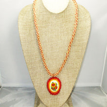 Load image into Gallery viewer, Dahlia Bead Embroidery Pendant Kumihimo Necklace relevant view