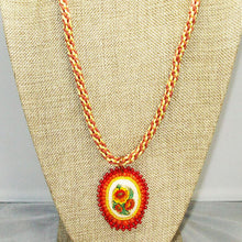Load image into Gallery viewer, Dahlia Bead Embroidery Pendant Kumihimo Necklace close up view