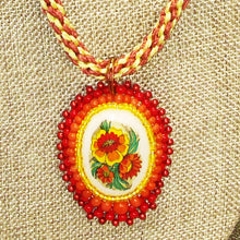 Load image into Gallery viewer, Dahlia Bead Embroidery Pendant Kumihimo Necklace Blow up view