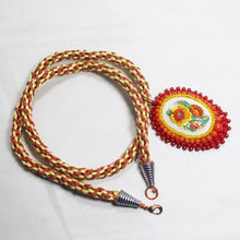 Load image into Gallery viewer, Dahlia Bead Embroidery Pendant Kumihimo Necklace flat view