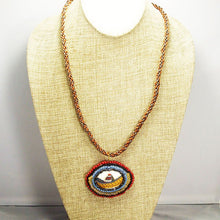 Load image into Gallery viewer, Ediltrudis Bead Embroidery Pendant Kumihimo Necklace front relevant view