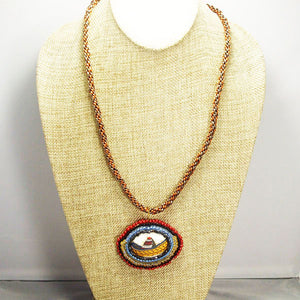 Ediltrudis Bead Embroidery Pendant Kumihimo Necklace front relevant view